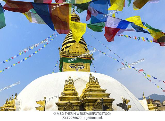 Swayambunath or Monkey Temple, Central Stupa and Buddha eyes, Unesco World Heritage Site, Kathmandu, Nepal, Asia