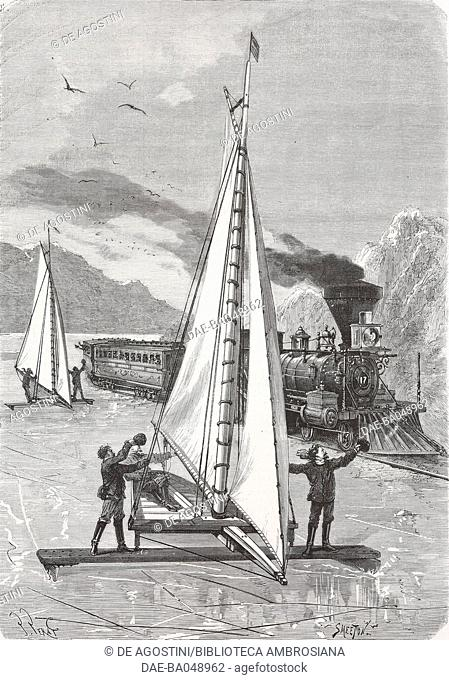 Ice sailing race on the Hudson River with a steam train in the background, United States of America, illustration by Perat and Smeeton from L'Illustration