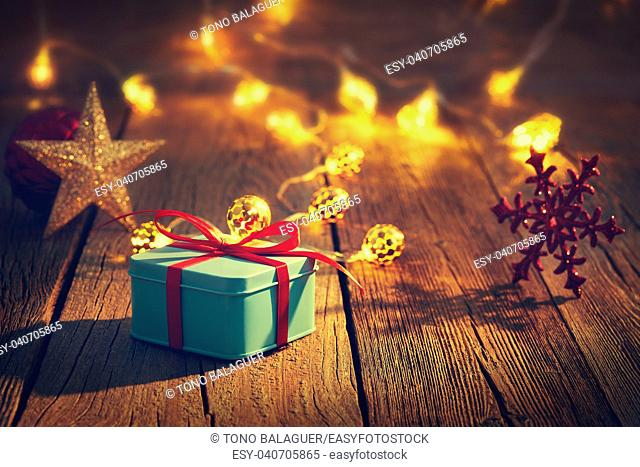 Christmas gift vintage rustic wooden background decoration