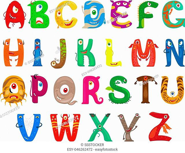 Monster alphabet. Vector funny monster characters abc vector