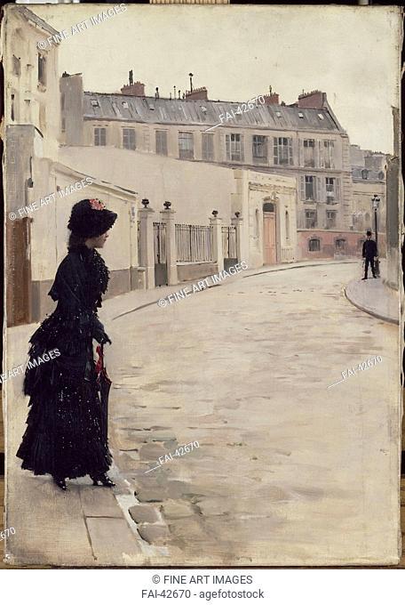 Waiting (L'attente) by Béraud, Jean (1849-1936)/Oil on canvas/Art Nouveau/c. 1880/France/Musée d'Orsay, Paris/55,3x39/Landscape
