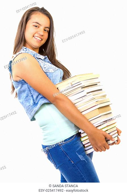 young student girl holding a stack of books on white background
