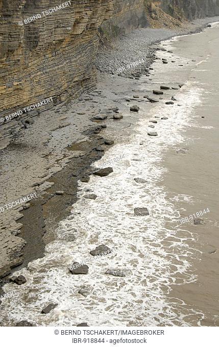 Stony beach, surf, coast, sea, Nash Point, Glamorgan Heritage Coast, Wales, Great Britain, Europe
