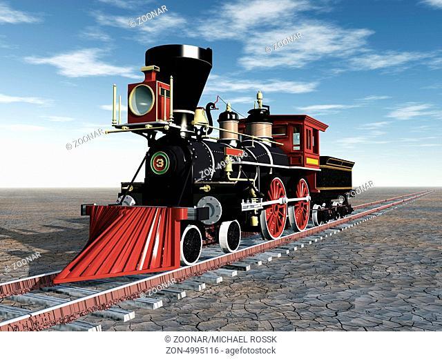 Computergenerierte 3D Illustration mit einer alten amerikanischen Dampflokomotive