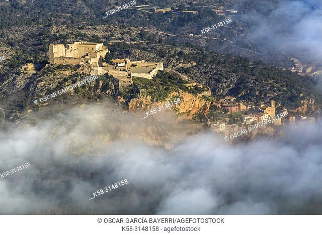 Aerial view of the Miravet Castle, Tarragona Province, Catalonia, Spain