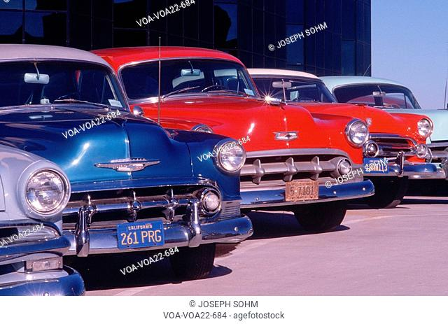 A row of ca. 1950s automobiles in mint condition, Hollywood, California