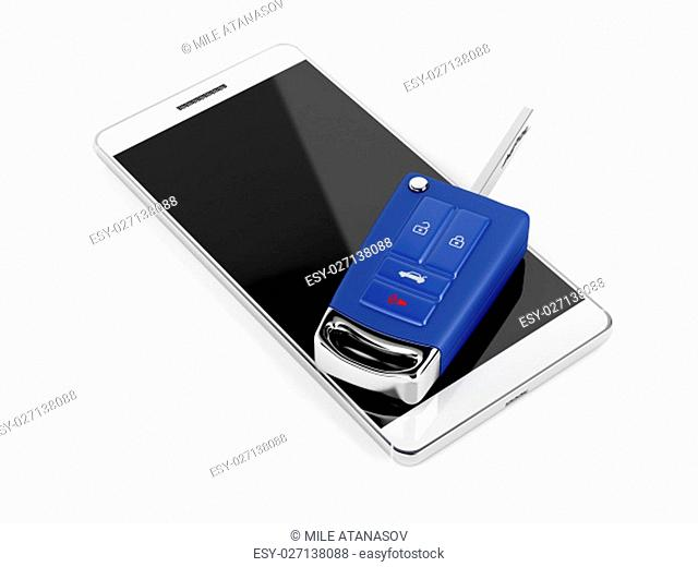 Smartphone and car key on white background