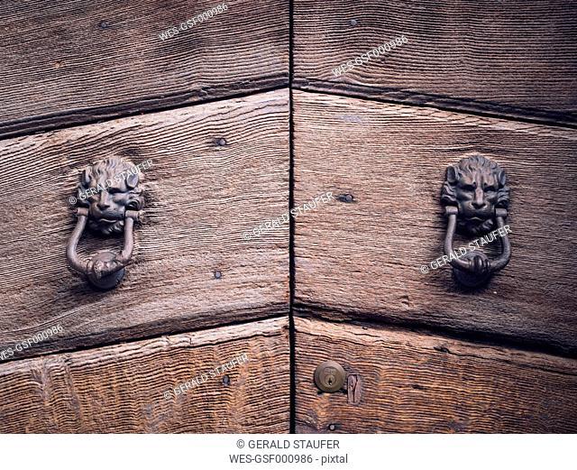 Italy, Tuscany, Montefollonico, door knocker