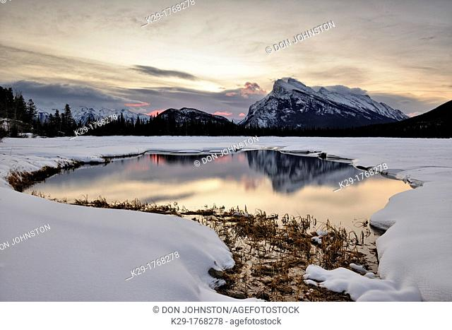Mount Rundle reflected in the Vermilion Lakes at dawn, Banff National Park, Alberta, Canada