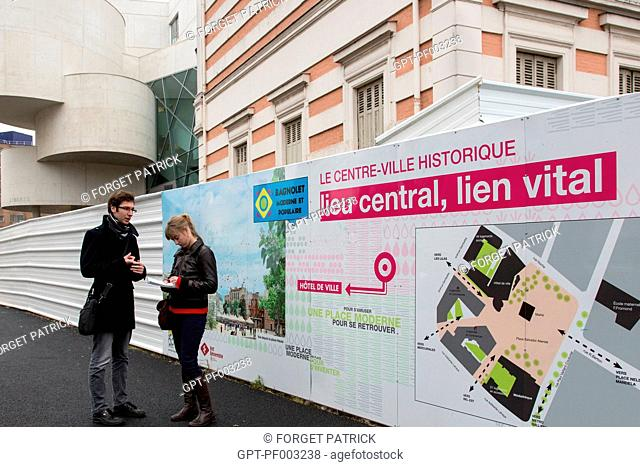 STUDENTS WORKING ON THE ERGAPOLIS URBAN RENOVATION PROJECT OF THE CITY CENTER (MODERN AND POPULAR), POLE GALLIENI INDUSTRIAL HUB, BAGNOLET CITY CENTRE (93)
