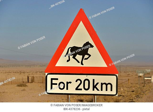 Warning Sign Attention horses, near Aus, Karas Region, Namib, Namibia