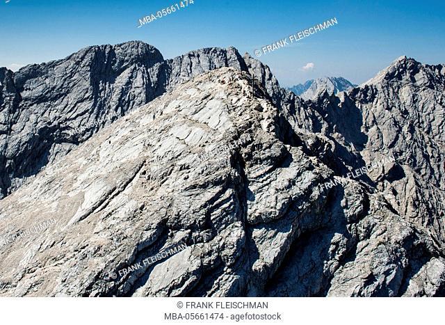 Alpspitze, Garmisch-Partenkirchen, mountaintop, Ferrata, aerial picture, Wetterstein Range, Jubiläumsgrat, Bavaria, Germany