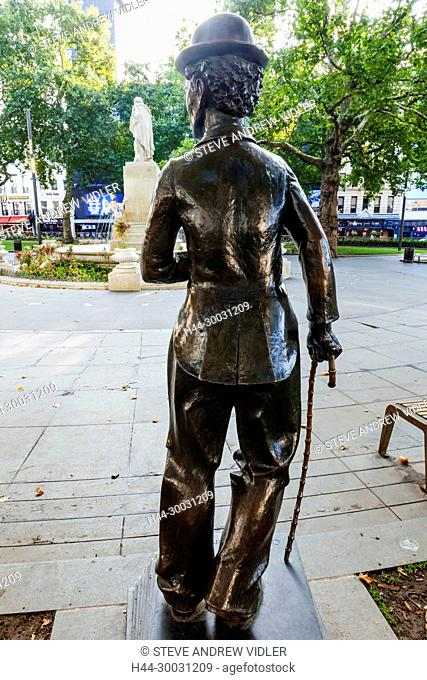 England, London, Soho, Leicester Square, Charlie Chaplin Statue and Shakespeare Statue