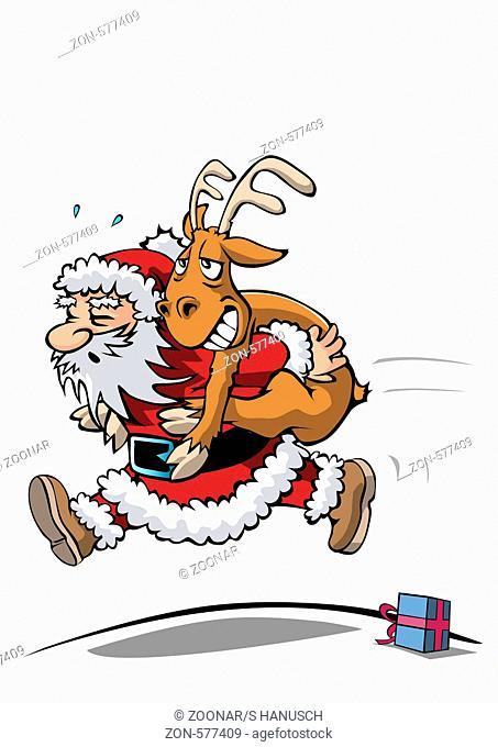 Schwitzender Weihnachtsmann sprintet und trägt ein Rentier auf dem Rücken