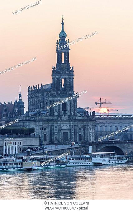 Germany, Dresden, view to court church at sunset