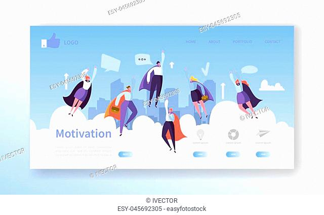 Website Development Landing Page Template. Mobile Application Layout with Flat Flying Business Heroes Man and Woman. Easy to Edit and Customize