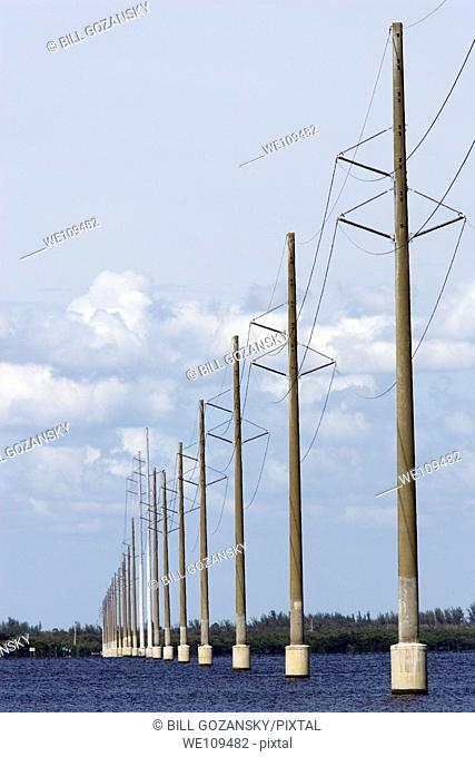 Power lines across the bay - Sanibel Island, Florida