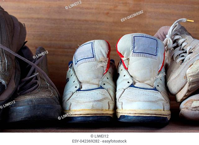 front view from the pairs of old boots
