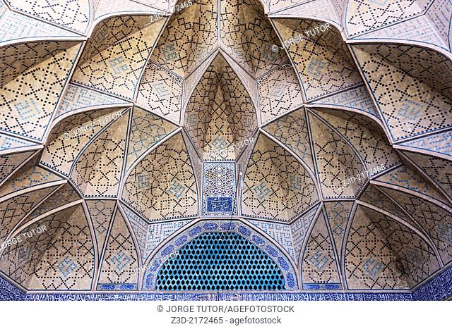 Ceiling inside of Jameh Mosque, Isfahan, Iran