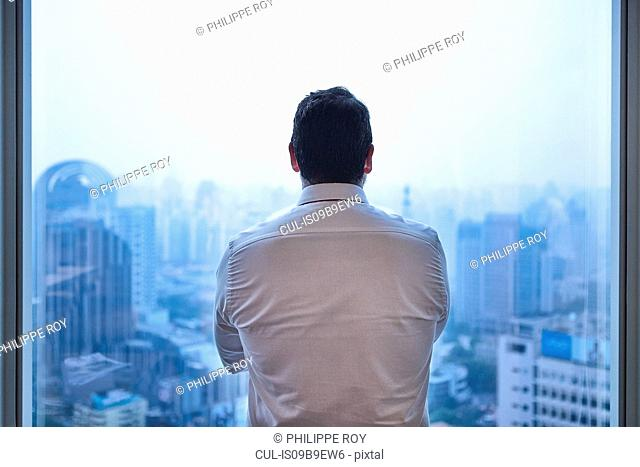 Rear view of businessman looking through window at cityscape