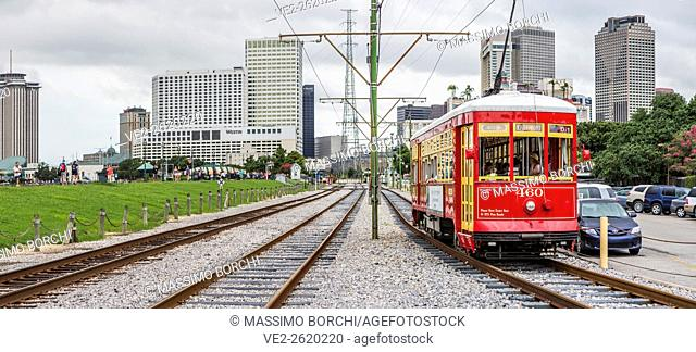 USA, Louisiana, New Orleans . French Quarter, typical tram near the French Market