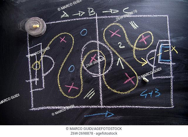 Lesson in tactics and the football patterns drawn with chalk on blackboard