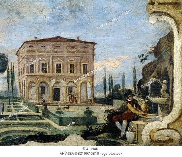 A building and garden, detail, by Guercino, housed in the Pinacoteca Civica, Cento (1610-1666 ca.), shot 1997 by Tatge, George for Alinari