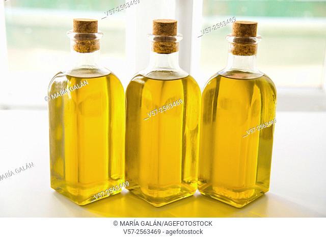 Three oil bottles