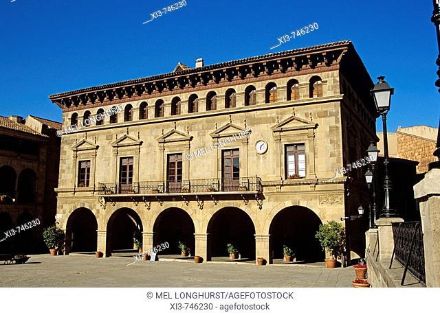 Main Building, Plaza Mayor, Poble Espanyol Spanish Village de Montjuic, Barcelona, Spain