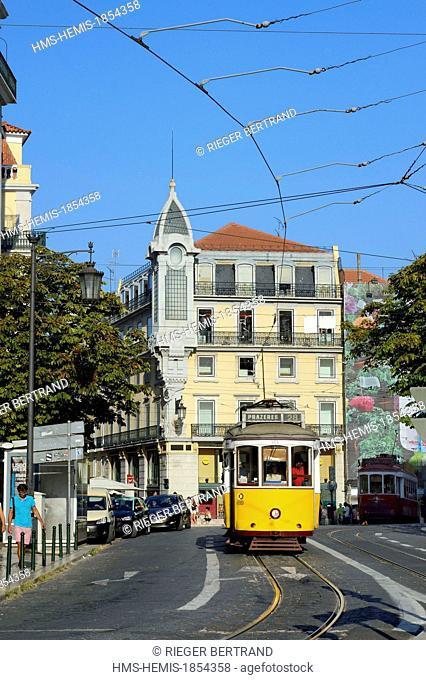 Portugal, Lisbon, Chiado district, tram (electricos) at Largo Luis de Camoes square