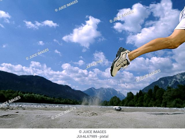 Man running, outdoors