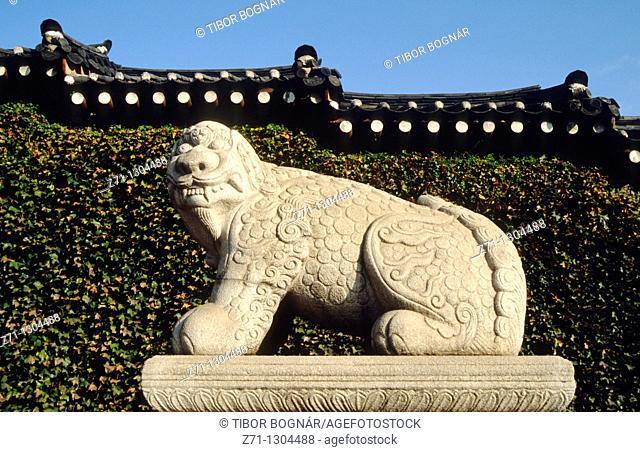South Korea, Seoul, Gyeongbokgung palace, traditional stone figure