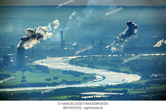 Aerial view, industry on the Rhine, Rhine bow at Beeckerwerth, floodplains, Duisburg, Ruhr district, North Rhine-Westphalia, Germany