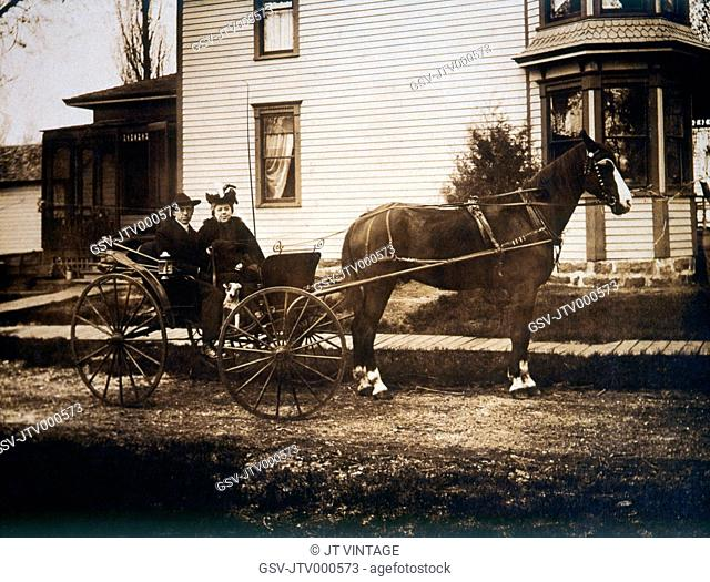 Couple and Dog in Horse and Buggy, Circa 1900