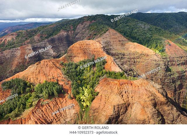 Waimea, canyon, USA, United States, America, Hawaii, Kauai, gulch, rock, cliff, colors, erosion, aerial, view