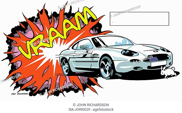 Sports car, explosion, sign, rabbit on white
