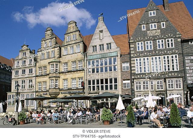 Bremen, Gabled, Germany, Europe, Holiday, Houses, Landmark, Main square, Marktplatz, Outdoor cafes, Tourism, Travel, Vacation