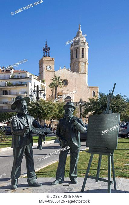 Spain, Catalonia, province Barcelona, Sitges, San Bertomeu church, Santiago Rusiñol monument