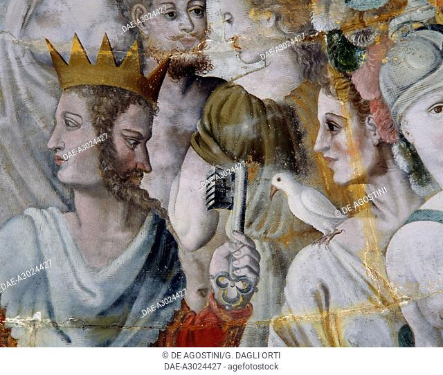 Janus and Juno, frescoes in the gilded tower of the Ligue, Fontainebleau School, Tanlay Castle (16th-17th century), Burgundy, France