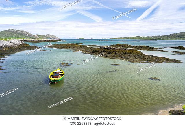 Landscape on the island of South Uist (Uibhist a Deas) in the Outer Hebrides. Europe, Scotland, June