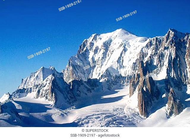 Mont Blanc mountain in the French Alps near Chamonix Savoie France Known in France as the White Lady the summit stands at 4807 metres This photograph from taken...