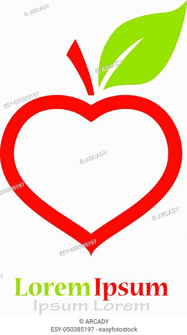I like fruits conceptual icon, apple and heart combination
