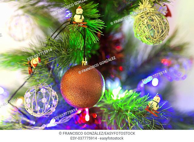 Decorative ornaments of a Christmas tree. Horizontal Shot