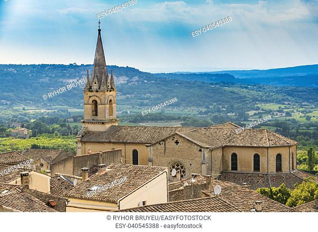 Medieval beautiful parish church in Bonnieux village, Provence, France. Old architectural heritage