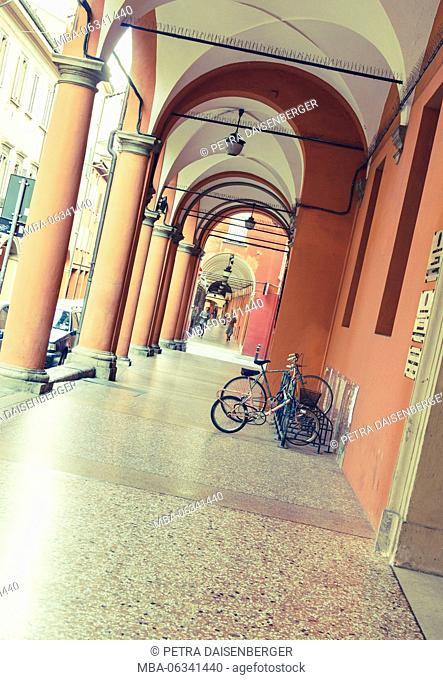 roofed passages in the city centre of Bologna, Italy