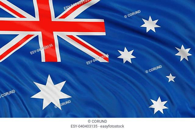 3D Australian flag with fabric surface texture. White background