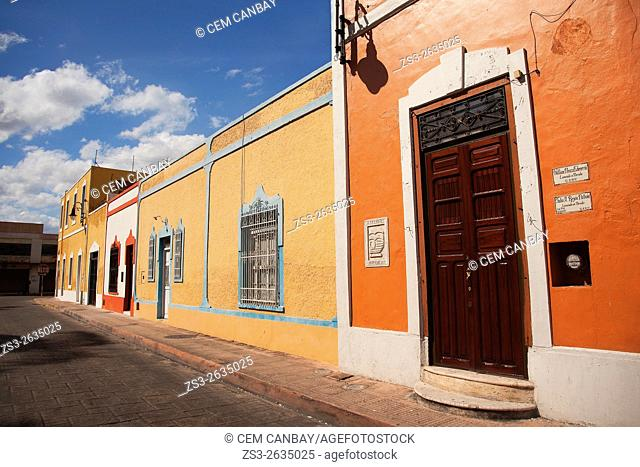 Colorful colonial buildings in the historic center, Merida, Riviera Maya, Yucatan Province, Mexico, Central America