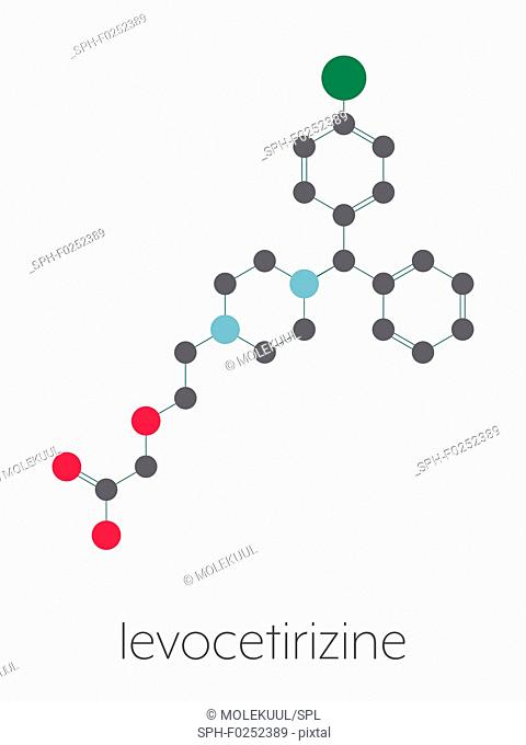Levocetirizine antihistamine drug molecule. Used to treat hay fever, urticaria and allergies. Stylized skeletal formula (chemical structure)