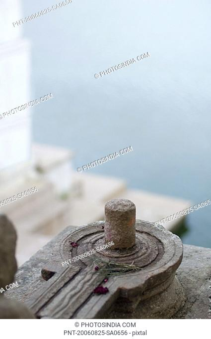 High angle view of a Shiva linga in a temple, Pushkar, Rajasthan, India