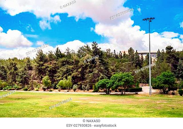 Landscape of Gan Sucher park in Jerusalem